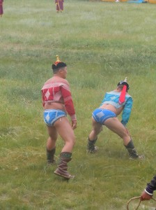 Some traditional Mongolian wrestlers
